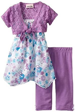 Little Lass Baby Girls' 3 Piece Skimp with Flowers, Purple, 12 Months