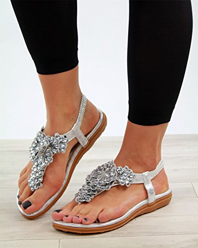 Larena Fashion New Womens Low Heel Sandals Toe Post Embellished Slingback Comfy Holiday Shoes Silver fdX8qbkJ