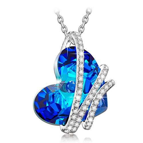 "NinaQueen ""Heart Of the Ocean"" 925 Sterling Silver Blue Heart Pendant Necklace Made with Swarovski Crystals"