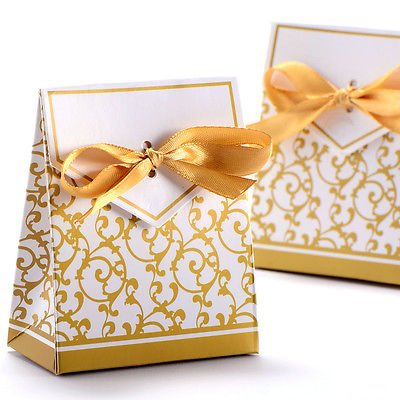 The Pecan Man Wedding Party Favor Gift Box Candy Boxes With RibbonGold 50pcs