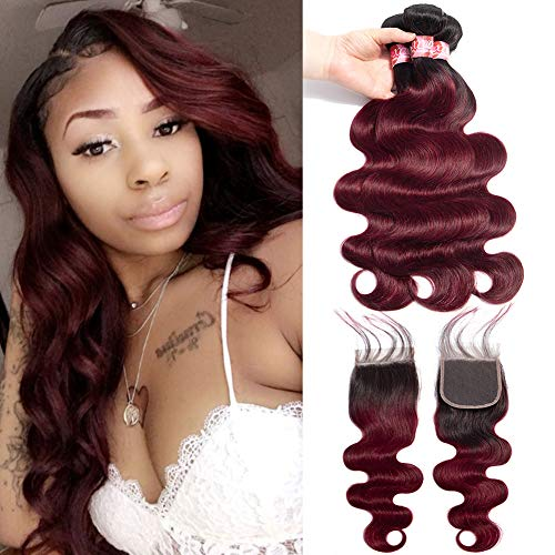(XCCOCO Hair 8A Peruvian 1b/99j Body Wave with Closure 3 Bundles Two Tone Ombre Wine Red Body Wave with 4x4 Free Part Lace Closure(12 14 16+12closure))
