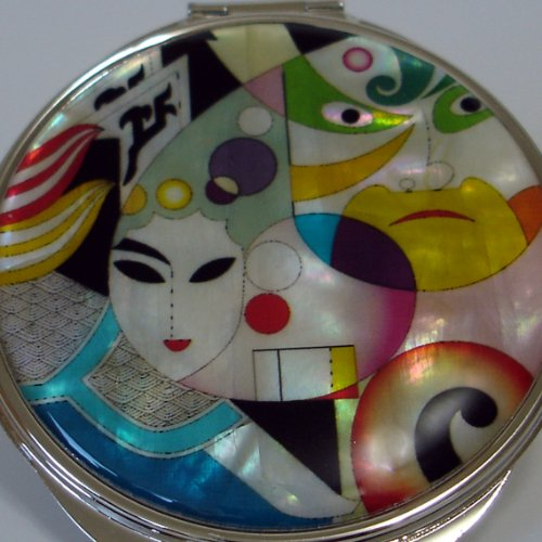 Mother of Pearl Woman Man Face Design Double Compact Magnifying Cosmetic Makeup Handbag Pocket Beauty Purse Mirror by Antique Alive (Image #2)