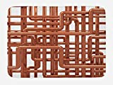Ambesonne Industrial Bath Mat, Knot of Pipes Complex Design with Entangled Lines Hardware Industry Art, Plush Bathroom Decor Mat with Non Slip Backing, 29.5 W X 17.5 W Inches, Bronze and White