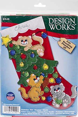 Design Works Decorating Kittens Stocking Felt & Sequin Kit
