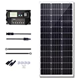 KOMAES 100 Watts 12Volts Monocrystalline Solar Panel with Energy-efficient Tech Kit Includes 20Amp PWM Solar Charge Controller, 20ft Tray Cable, 20ft MC4 Cable, Branch Connector, Mounting Z Brackets