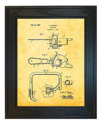 Chain Saw Patent Art Print in a Solid Pine Wood Frame