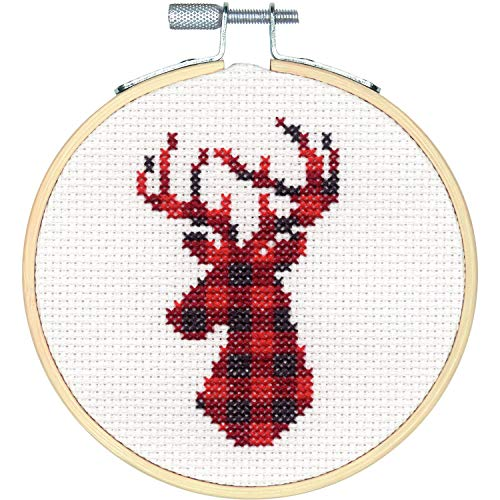 (Dimensions 72-76048 Kit, Plaid Reindeer Christmas Cross Stitch, White 14 Count Aida, 4'' Embroidery Hoop)