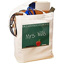 """GiftsForYouNow Teacher Personalized Canvas Tote Bag Chalkboard Design, Cotton, 16""""H"""