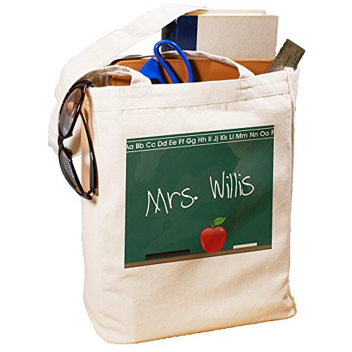 GiftsForYouNow Teacher Personalized Canvas Tote Bag Chalkboard Design, Cotton, 16