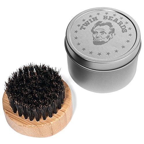 Twin Beards Boar Bristle Beard Brush with Matching Tin Travel Can ()