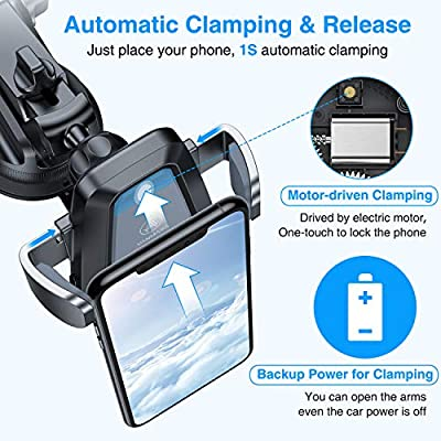VANMASS Wireless Car Charger Mount, Automatic Clamping Qi 10W 7.5W Fast Charging Car Mount, Dashboard Air Vent Phone Holder Compatible with iPhone 11 Pro Max Xs X 8, Samsung S20 S10 S9 Note10, Grey