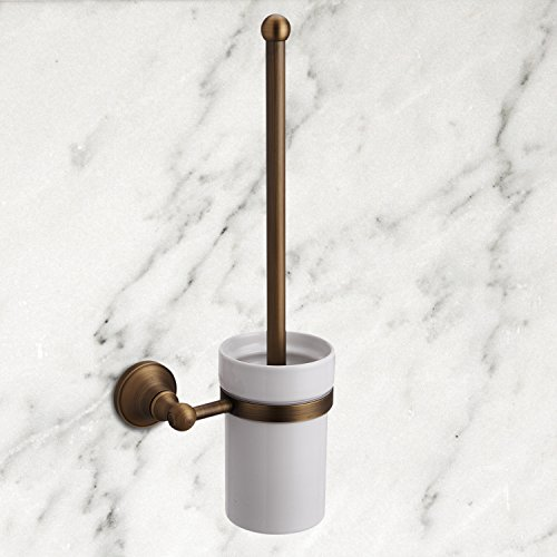Ouku Novelty Design Antique Inspired Solid Brass Wall Mount Toilet Brush Holder Bathroom Accessory Lavatory Home Decor Bath Shower Improvement Toilet Brush Holders by OUKU