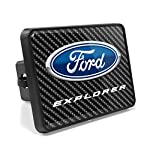Ford Explorer Carbon Fiber Look UV Graphic Metal Plate on ABS Plastic 2″ inch Tow Hitch Cover, Made in USA