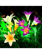 2 Stück Solar Lilie Blumen Garten Lampen 4 Kopf Solarlicht
