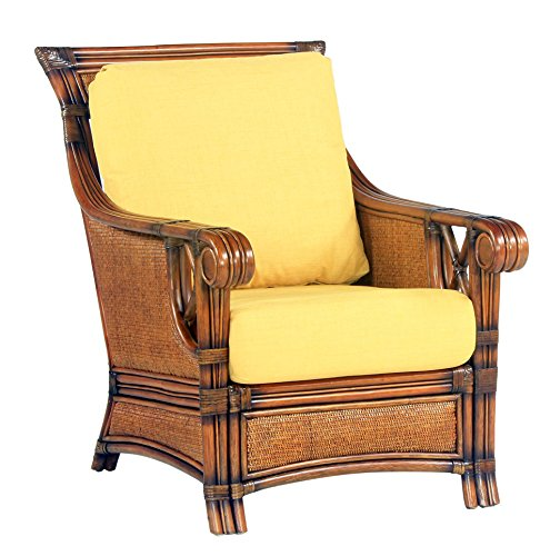 South Sea Rattan Pacifica Chair in Walnut Finish, Ariel Sunset (Chair Set Rattan Sea South)