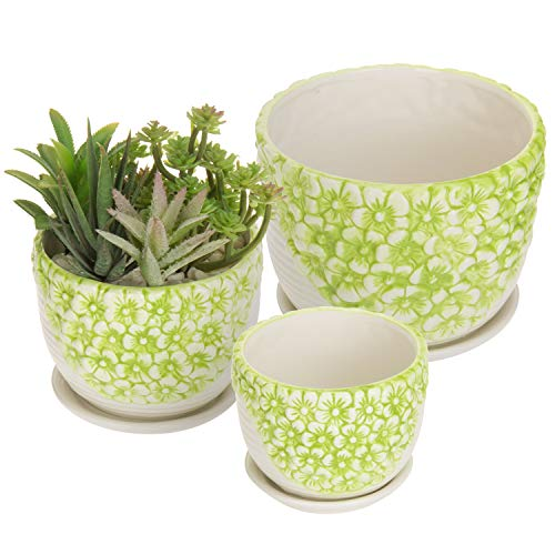 MyGift Set of 3 Green & White Flower Design Nesting Ceramic Planter Pots/Plant Containers w/Attached Saucers