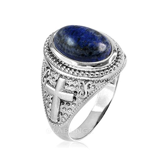 14K White Gold Lapis Lazuli Gemstone Religious Cross Ring (16) - 14k Lapis Cross