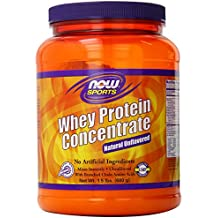 NOW Sports Whey Protein Concentrate Unflavored Powder,1.5-Pound