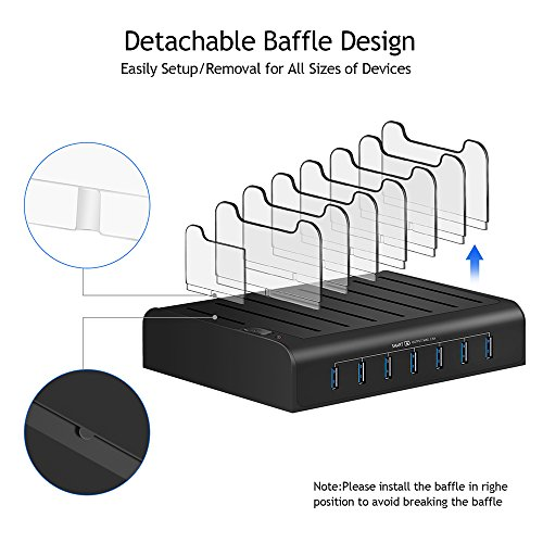 Kisreal USB Charging Station Smart 7-Port Desktop Charging Stand Organizer for iPhone, iPad, Tablets and Other USB-Charged Devices (7) by kisreal (Image #2)