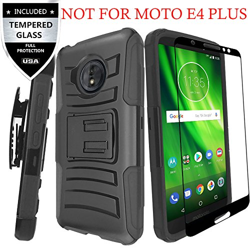 MOTO E4 Case With Tempered Glass Screen Protector,IDEA LINE(TM) Heavy Duty Armor Shock Proof Dual Layer Holster Locking Belt Swivel Clip with Kick Stand - Black [Not Fit For MOTO E4 PLUS]
