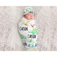 Baby Boy Personalized Dinosaur Blanket Personalized Swaddle Blanket Baby Boy Receiving Blanket Monogram Baby Blanket Baby Boys