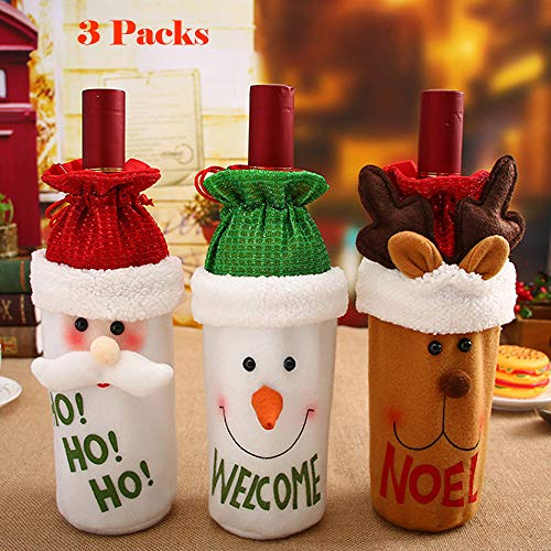 Sunshinehomely Christmas 3PC Red Wine Bottle Cover Bags Decoration Home Party Santa Claus Christmas For Party -