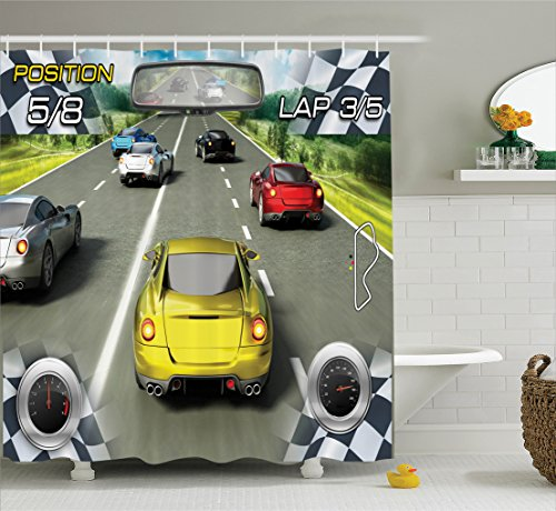 Video Games Shower Curtains by Ambesonne, Cars Decor Racing