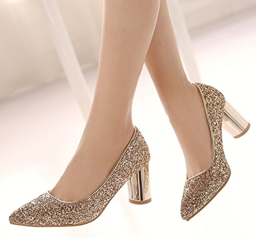 Aisun Daily Court Slip Shoes Women's On Sequins Toe Pointy Gold rqwfOrxgv1