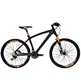 BEIOU Carbon Fiber Mountain Bike Hardtail MTB 10.65 kg SHIMANO M610 DEORE 30 Speed Ultralight Frame RT 26 Professional Internal Cable Routing Toray T800 Carbon Hubs Matte CB024A (Black, 21-Inch)