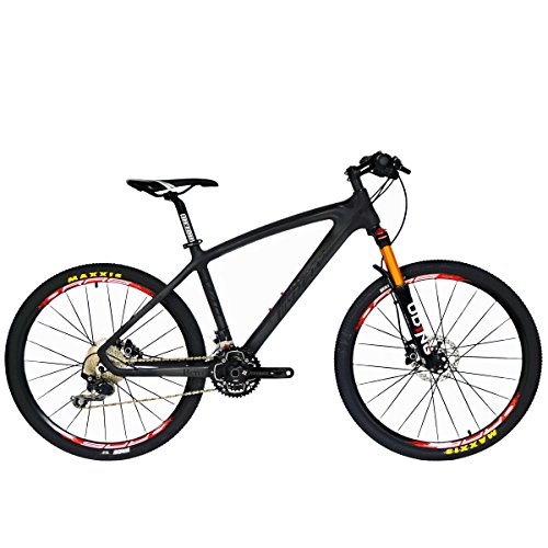 - BEIOU Carbon Fiber Mountain Bike Hardtail MTB 10.65 kg Shimano M610 DEORE 30 Speed Ultralight Frame RT 26-Inch Professional Internal Cable Routing Toray T800 Carbon Hubs CB024A (Black, 17-Inch)