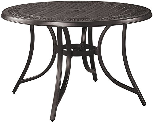 Ashley Furniture Signature Design - Burnella Round Dining Table - Outdoor- Rust Free Cast Aluminum - Dark Metal