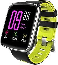スマートウォッチ、 Yamay 1.54インチHD画面スマートブレスレット 心拍計 活動量計 多機能腕時計 Bluetooth通話機能搭載(SIMカードなし) SMS通知 歩数計 消費カロリー ストップウォッチ 睡眠検測 座りっぱなし警告 遠隔音楽 IP68防水 水泳可能 日本語説明書 iphone&Android対応