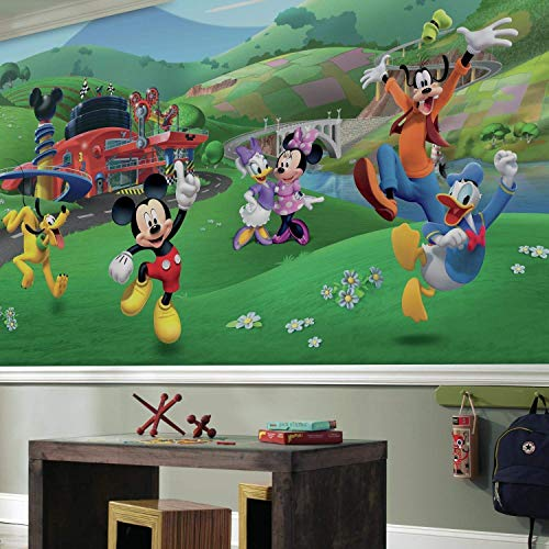 (RoomMates Mickey And Friends Roadster Racer  Removable Wall Mural - 10.5 feet X 6)