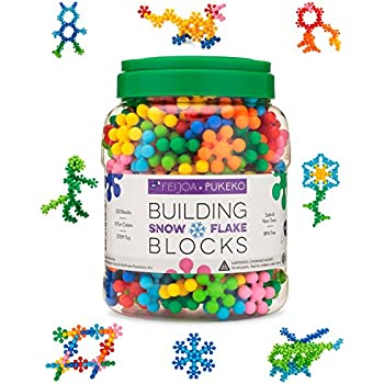 Snowflake Building Blocks Kids STEM Educational Toys - 250 Piece Mega Set of Plastic Interlocking Discs for Preschool, Toddler and School Boys and Girls - Creative & Development Toy - Feijoa + Pukeko