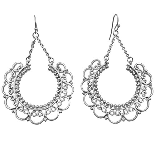 Filigree Lace Look Crescent Circles Boutique Style Dangle Earrings (Matte Silver Tone)