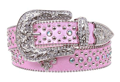 Ladies Western Rhinestone Silver Circle Studs and Fleur De Lis Ornaments Genuine Leather Belt Size: M/L - 38 Color: Pink
