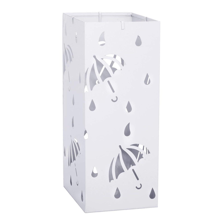 Design Moderno in Gocce di Pioggia Porta ombrelli Metallico Ingresso,Bianco,20x20x49cm E-starain portaombrelli Rettangolare in Ferro con vaschetta e gancini