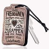 schenkYOU® Schlüsselanhänger aus Holz mit Gravur für Beste Freundinnen