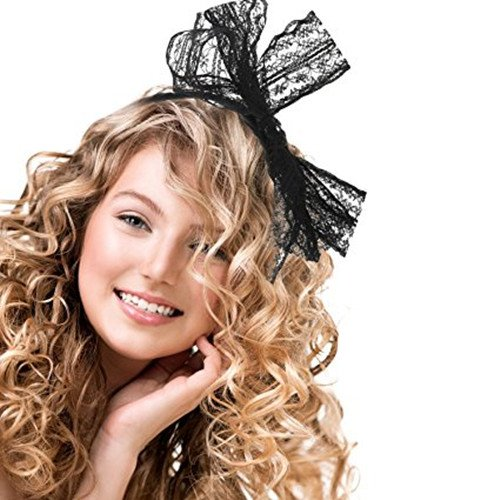 Zhisan Party Lace Bow Headband Hair Band 80s Costumes for Women (Black)