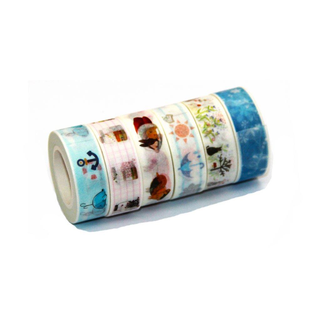 Ewparts 6 Rollos Sticky Adhesive Masking Tape Cinta Decorativa Washi, con dispensador / cortador de cinta Well Washi (Group 7): Amazon.es: Electrónica