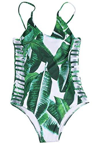 Leaf Print Fashion (Sign Fashion Banana Leaves Print One-piece Swimsuit,Medium,Green)