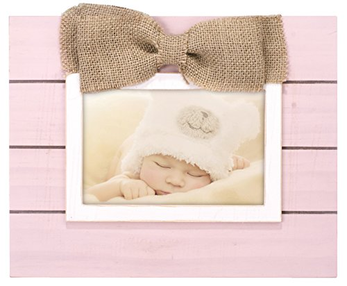 Malden International Designs Burlap Bows With Burlap Bow Attachment Wooden Picture Frame, 4x6, - Bow Frames