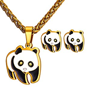 U7 Women Teen Girls Cute Panda Bear Pendant Necklace Earrings Set - Stainless Steel/18K Gold Plated