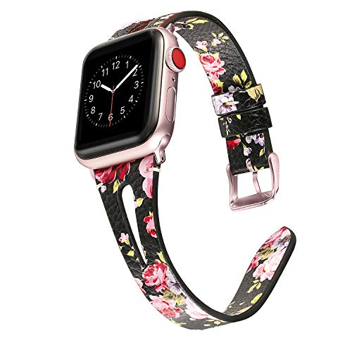 (Secbolt Leather Bands Compatible with Apple Watch Band 38mm 40mm iwatch Series 4 3 2 1, Slim Strap with Breathable Hole Replacement Wristband Women, Black/Pink Floral)