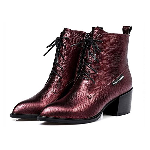 Boots Leather 35 Metal Short RED Side Genuine Women's Zipper NSXZ Fashion Leather x4STSw