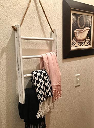 4-Tier Rope Ladder Decorative Hanging Wall Towel Blanket Quilt Shelf Rustic Farmhouse Decor Wood Handmade in USA Rack…