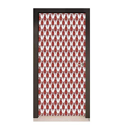 - Geometric 3D Door Sticker Christmas Ornaments in Vibrant Color Scheme Cheery Chipper Celebrations X-mas for Home Decoration Ruby White,W23xH70