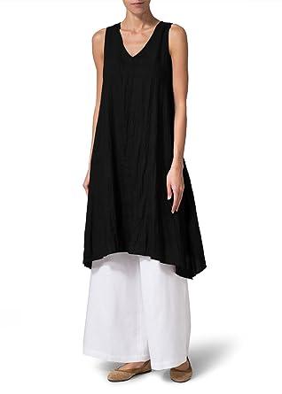 6e3146fc64 Vivid Linen Sleeveless A-shaped Long Blouse at Amazon Women s ...