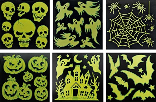 Halloween 3er-Sparset Grusel-Deko Sticker Spuck Festerdekoration: Leuchtet im Dunkeln -