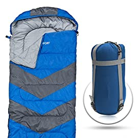 Abco Tech Sleeping Bag – Envelope Lightweight Portable, Waterproof, Comfort with Compression Sack - Great for 4 Season Traveling, Camping, Hiking, Outdoor Activities & Boys. (Single) 9 ULTRA COMFORTABLE SLEEPING BAG - Abco sleeping bags are designed to ensure that after a tiring day of trekking, hiking, travel or any other exploration you can get a good and relaxing night's sleep. The bags have barrel shaped design which is wide at the shoulders and narrow at the leg's end to offer maximum comfort, warmth and freedom. DESIGNED FOR EXTREME WEATHERS - Our sleeping bags are designed for near-freezing temperatures and have a rating of 20 degrees Fahrenheit - meaning these are designed to keep the average sleeper warm even at 20F. Moreover, these bags also have a waterproof, weather-resistant design to keep you warm even in extreme conditions and prevent you from any dampness - this is achieved through double-filled technology and S-shaped quilted design. EASY TO CLEAN AND CARRY - Our sleeping bags are also extremely easy to clean as they are safer for machine wash too. Moreover, each sleeping bag comes with a travel-friendly carry bag, a compression sack with straps, which makes it quite convenient to store and carry the sleeping bag along. The bags are not only ideal for cold conditions but even for warmer weather.